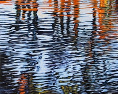 """Colors From The Pier,""  Abstract Oil of water reflections by  Realist Tom Swimm"