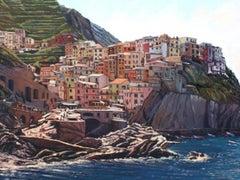 """""""Colors of Cinque Terre"""" Colorful Oil of Italian Riviera"""