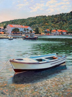 """""""Colors Of Croatia"""" Fishing Boat In Harbor With Brilliant Water Reflections"""