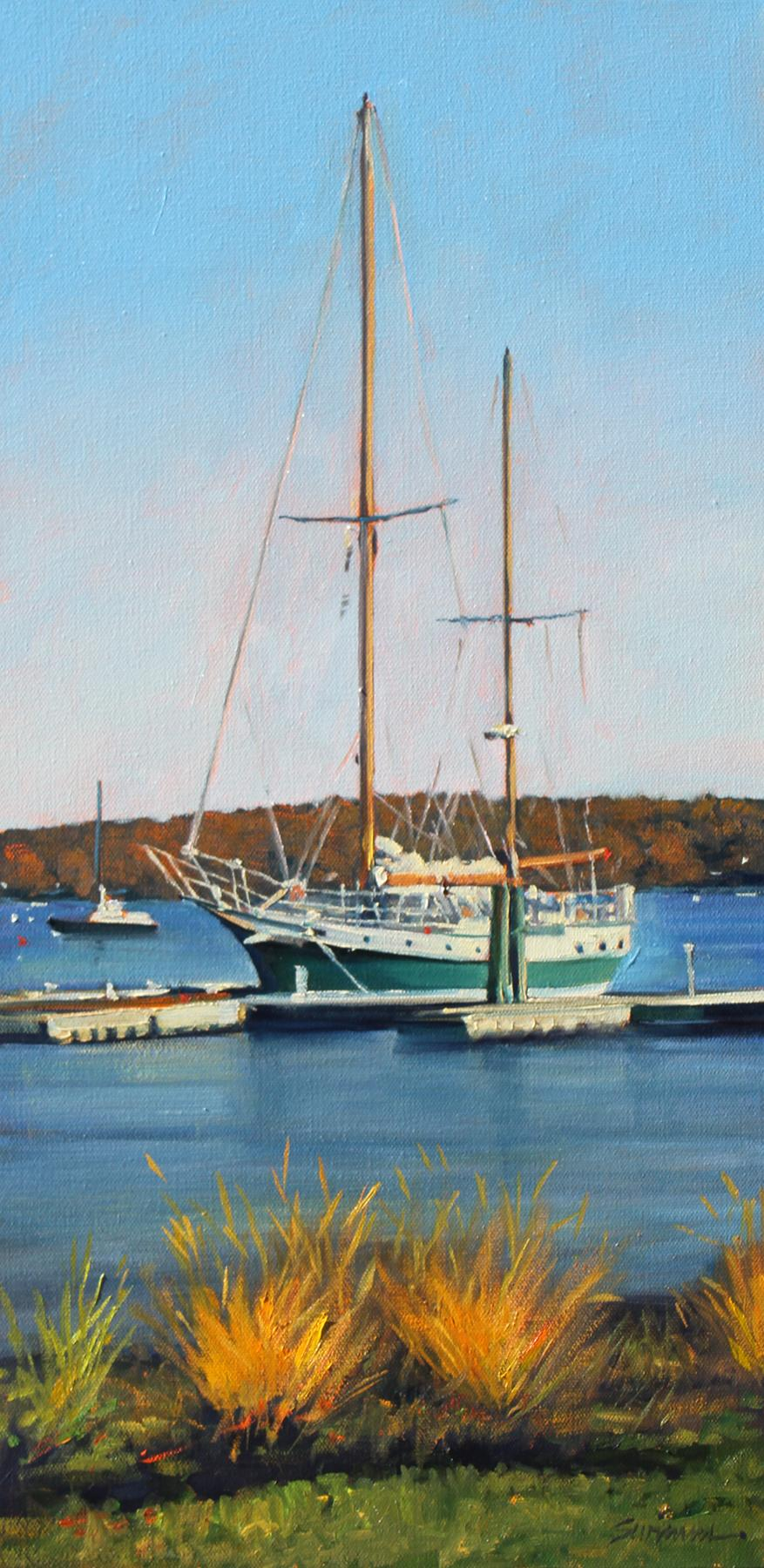 """""""Essex Harbor""""  Sailboat With Deep Blue Water Reflections Oil Painting"""