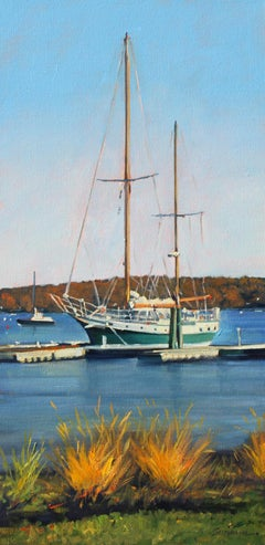 """Essex Harbor""  Sailboat With Deep Blue Water Reflections Oil Painting"