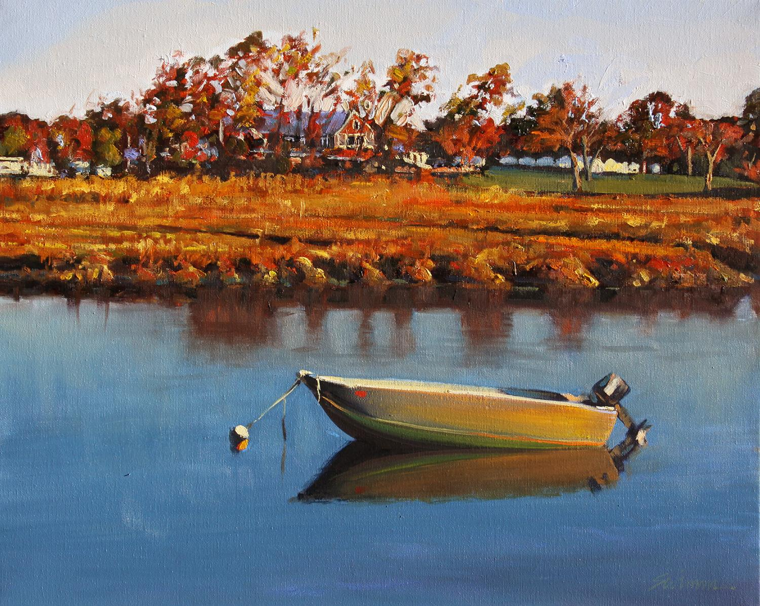 """""""Essex River Reflections"""" Row Boat With Deep Blue Water Reflections"""