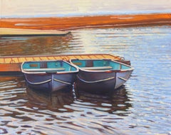 """Harbor Twins""  Boats With Colorful Water Reflections Oil Painting"