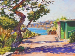 """Heisler Morning"" Colorful Park Path Above Ocean Oil Painting"