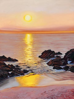 """Laguna Sunset""  Sandy Beach With Colorful Water Reflections Oil Painting"