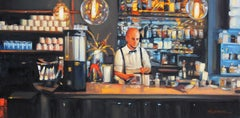 """""""Morning At The Blue Dog Cafe"""" Bar Scene Oil Painting"""