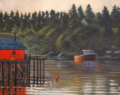"""Morning Mist"" Lakeside Dock With Water Reflections Oil Painting"