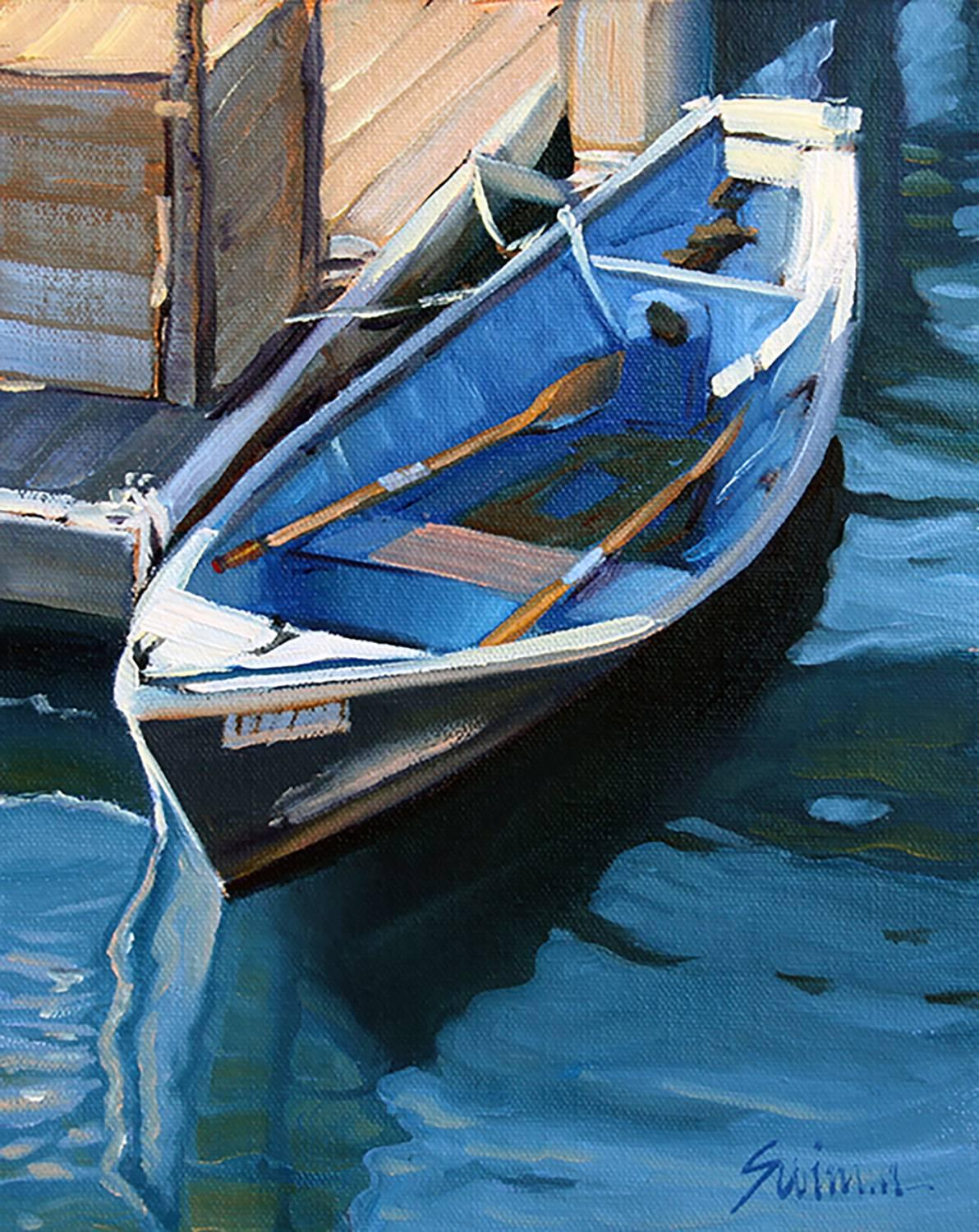 """""""Morro Bay Landing,""""   Oil of Boat and shimmering water by Realist Tom Swimm"""
