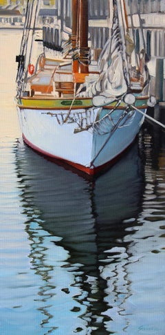"""""""Mystic Afternoon"""" Large Sailboat In Harbor With Brilliant Water Reflections"""