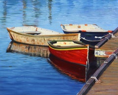 """New England Morning""  Row Boats With Deep Blue Water Reflections"