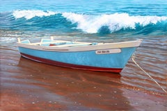 """""""Newport Shore""""  Fishing Boat on Beach With Breaking Waves"""