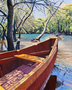 """On The Bayou""  Boat With Brilliant Water Reflections Oil Painting"