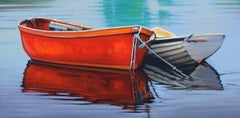 """""""Opposites Attract""""  Boats With Colorful Water Reflections Oil Painting"""