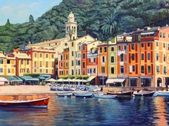 """Portofino Memories""  Italian Harbor With Brilliant Water Reflections"
