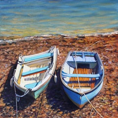 """Ready & Waiting""  Boats With Colorful Water On a Rocky Beach Oil Painting"