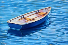 """""""Reflections In Blue""""  Boat With Deep Blue Water Reflections Oil Painting"""
