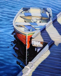 """Rockport Blues""  Boat With Deep Blue Water Reflections Oil Painting"