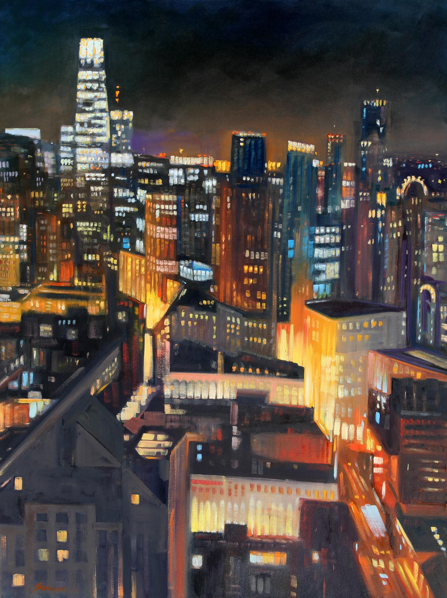 """San Francisco Skyline"" Colorful Night Scene Oil"