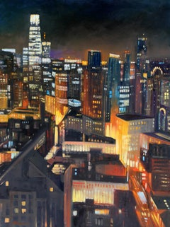 """San Francisco Skyline"" Colorful Night Scene Oil"