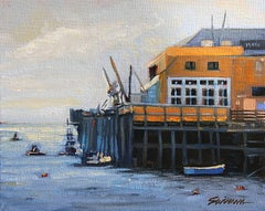 """""""San Luis Pier,""""   Oil of Pier with shimmering water and sky by Tom Swimm"""