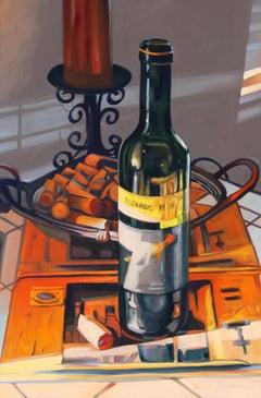 """""""Shiraz Still Life"""" Wine Bottle Scene Oil Painting"""