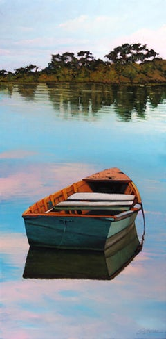 """""""Southern Coast Reflections"""" Row Boat With Sparkling Blue Water Reflections"""