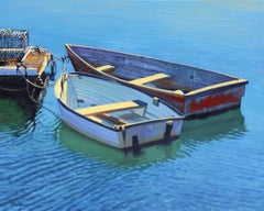 """""""Sunlight In Rockport""""  Row Boats With Deep Blue Water Reflections Oil Painting"""