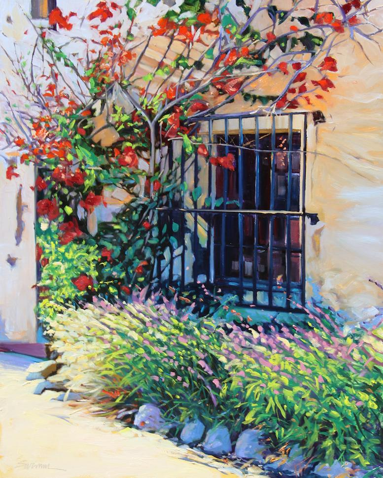 """""""Sunlight On The Mission"""" Colorful California Scene Oil Painting"""