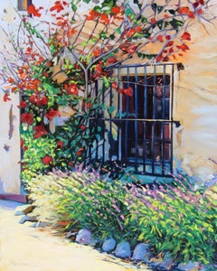 """Sunlight On The Mission"" Colorful California Scene Oil Painting"