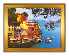 Tom Swimm Original Oil Painting On Canvas Large Italian Seascape Signed Artwork