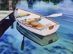"""Tranquil Morning""  Row Boat With Deep Blue Water Reflections Oil Painting"