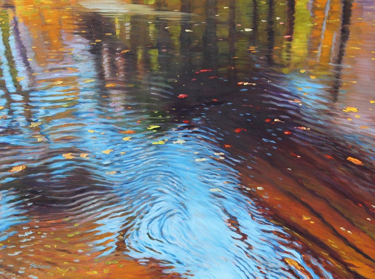 """""""Transparency,""""  Abstract Oil of water reflections by  Realist Tom Swimm - Painting by Tom Swimm"""
