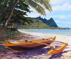 """Tunnnels Outrigger""  Outrigger on Kauai Beach With Palm Trees and White Sand"