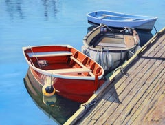 """""""Walking The Dock""""  Three Row Boats With Brilliant Blue Water Reflections"""