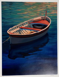 """Harbor Rainbow"" Colorful Boat With Deep Blue Water Reflections Serigraph"