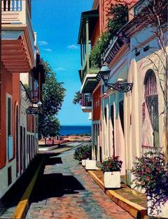 """Morning By The Bay"" Colorful Harbor Street Scene In Old San Juan Serigraph"