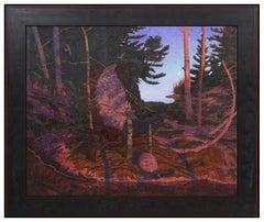 Tom Uttech Large Original Oil Painting Signed Landscape Forest Framed Artwork