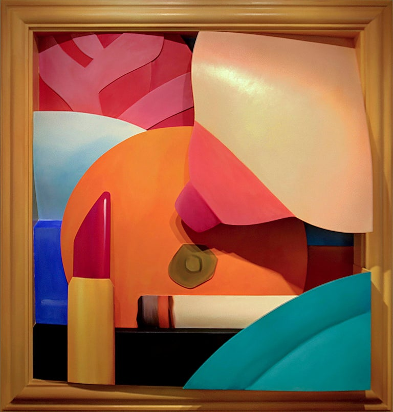 """A painting by Tom Wesselmann. """"Bedroom Breast"""" is an oil on cut-out aluminum painting executed in a lush palette primarily of blues, turquoise, peach, pink and orange and depicting the close up of a breast, and orange, a lit cigarette and a lipstick"""