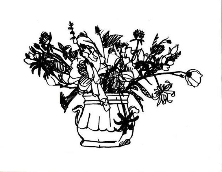 Black Wild Flower Bouquet- Two Handled Vase - Pop Art Painting by Tom Wesselmann