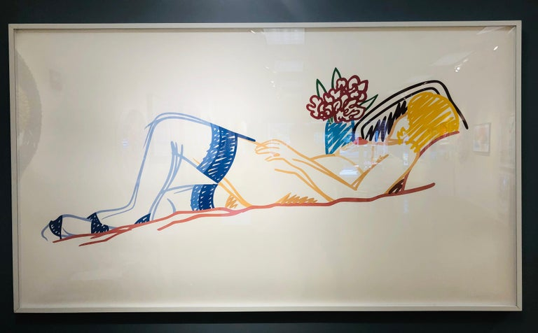 Nude with Bouquet and Stockings - Pop Art Painting by Tom Wesselmann