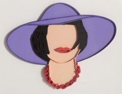 Monica with a Purple Hat, Hand-Colored Lasercut by Tom Wesselmann