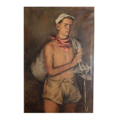 Tom with Sailbag, Half-Length Portrait, 1938 Masterpiece by Serwazi