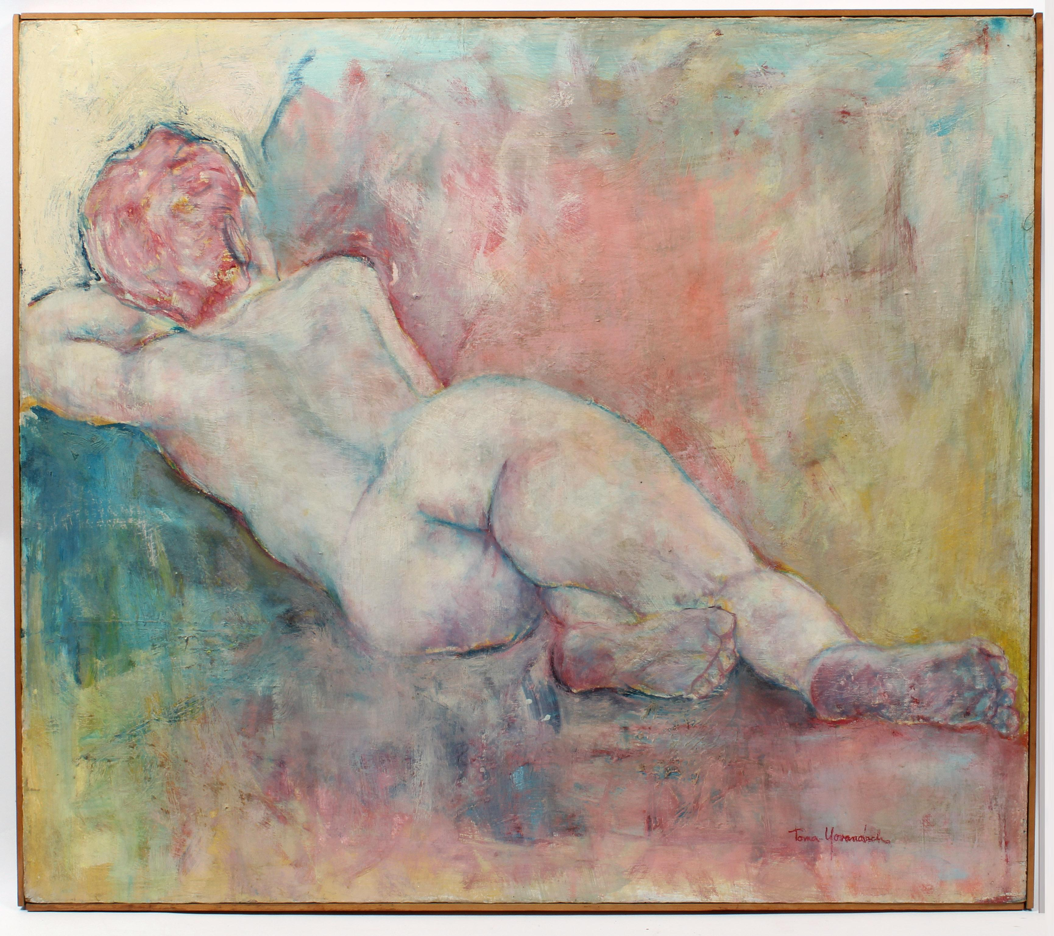 Mid Century Modern Oil Painting Abstract Expressionist Nude Pastel Pink Green