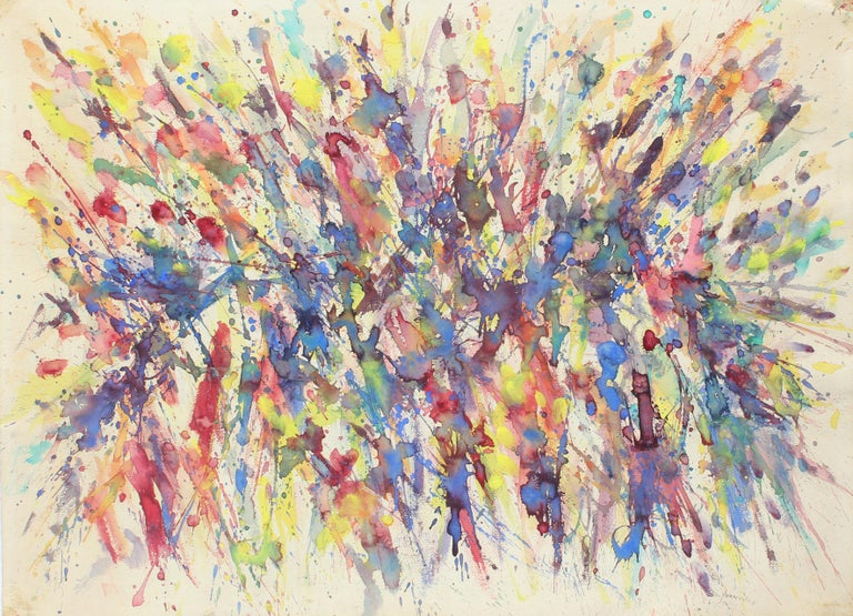 Toma Yovanovich Mid Century Abstract Colorful Splatter Synesthesia Painting 1960 - Beige Abstract Painting by Toma Yovanovich
