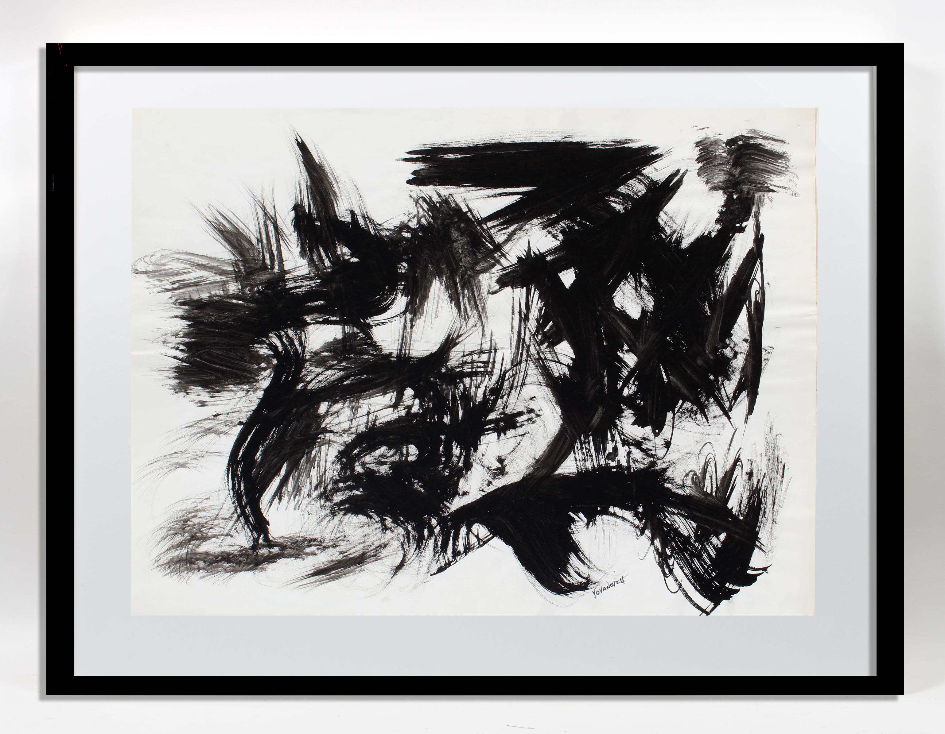 Toma Yovanovich Mid Century Abstract Expressionist Painting 1960 Black and White
