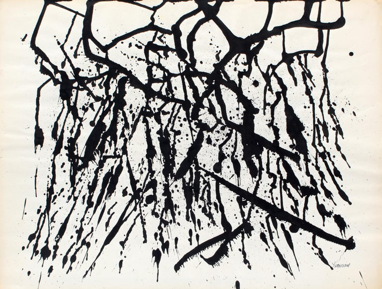 Mid-Century Modern black and white abstract expressionist painting by American artist Toma Tovanovich (1931- 2016).   Circa 1960, framed, signed Yovanovich; lower right.   Tovanovich's work is found in many public and private collections all over