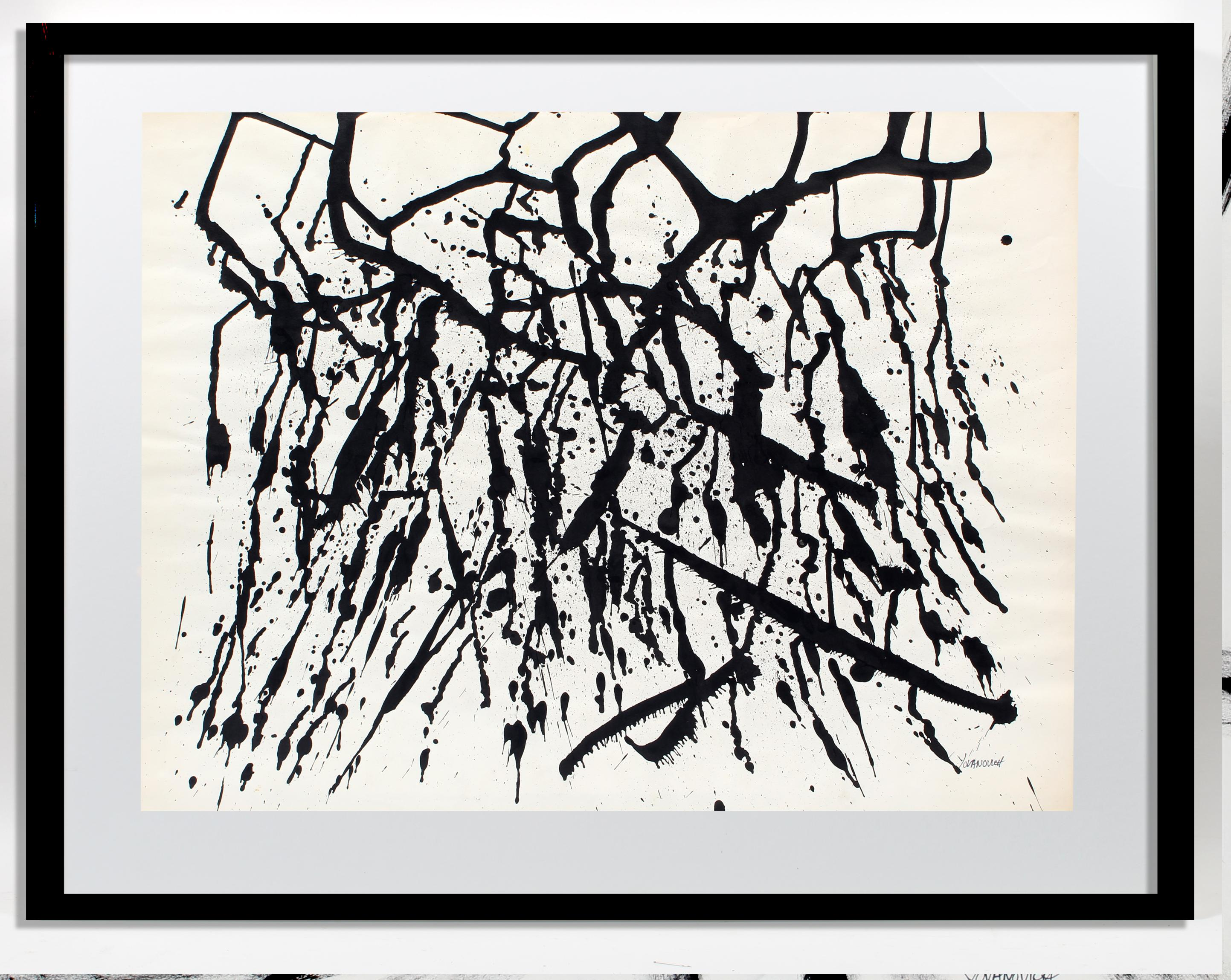 Toma Yovanovich Mid Century Abstract Splatter Painting 1960 Black and White