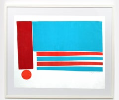 American Mid Century Abstract Monotype Painting Print Abstract Colorful 1960