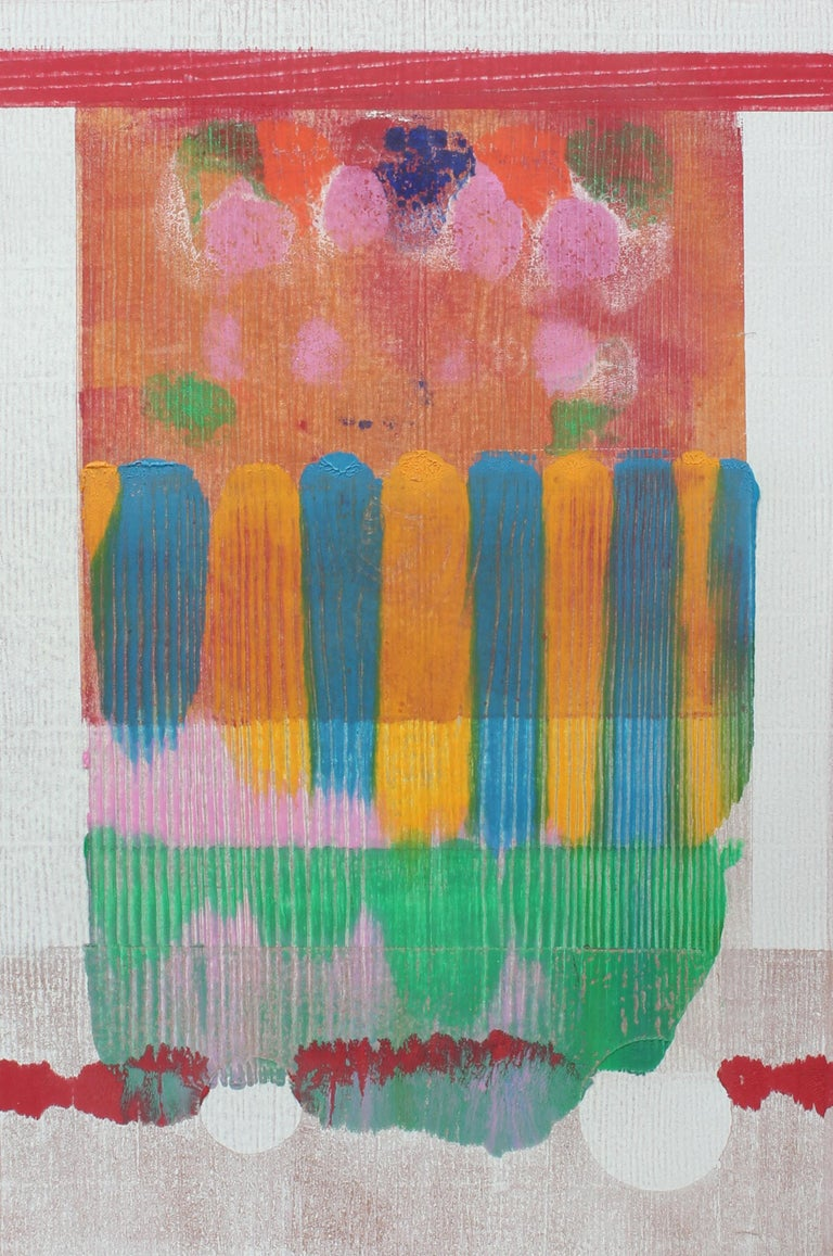 American Mid Century Abstract Monotype Print Abstract Colorful 1960 - Brown Abstract Print by Toma Yovanovich