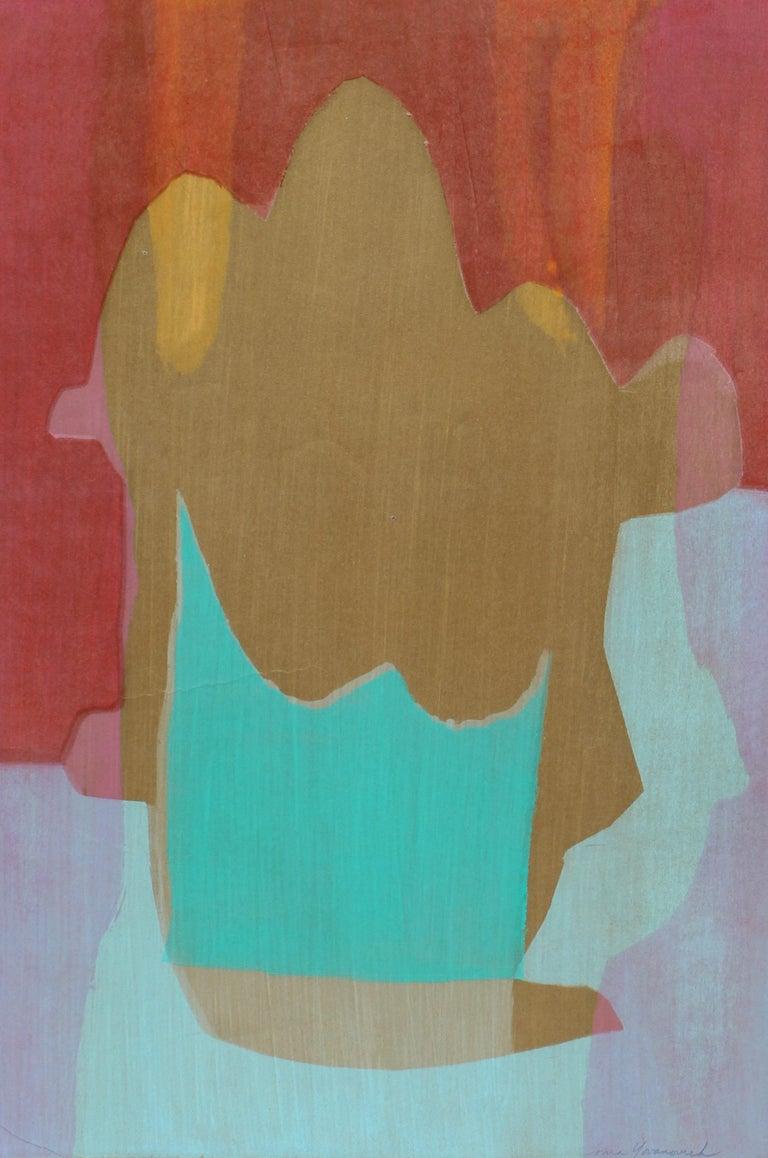 American Mid Century Abstract Monotype Print Abstract Colorful 1960 - Gray Abstract Print by Toma Yovanovich